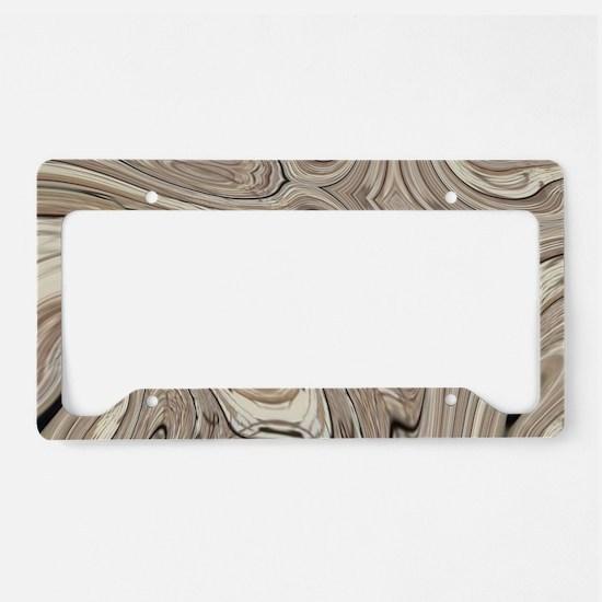 rustic brown swirls marble License Plate Holder