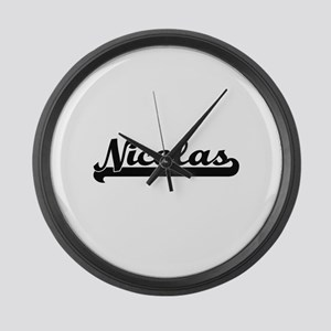 Nicolas Classic Retro Name Design Large Wall Clock