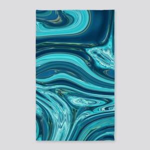 summer beach turquoise waves Area Rug
