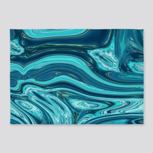 summer beach turquoise waves 5'x7'Area Rug