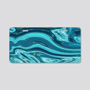 summer beach turquoise wave Aluminum License Plate