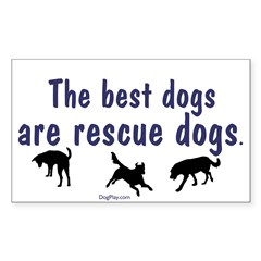 Best Dogs Are Rescues Rectangle Decal