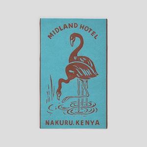 Flamingos in Kenya Vintage Poster Area Rug