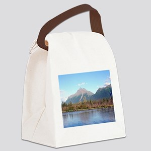 Alaskan mountains,forest and rive Canvas Lunch Bag
