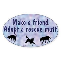 Make a Friend (blue) Oval Decal