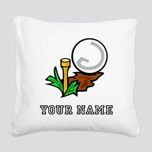 Golf Ball On Tee (Add Name) Square Canvas Pillow