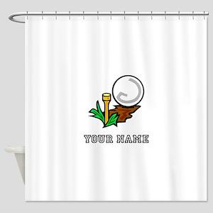 Golf Ball On Tee (Add Name) Shower Curtain