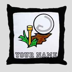 Golf Ball On Tee (Add Name) Throw Pillow