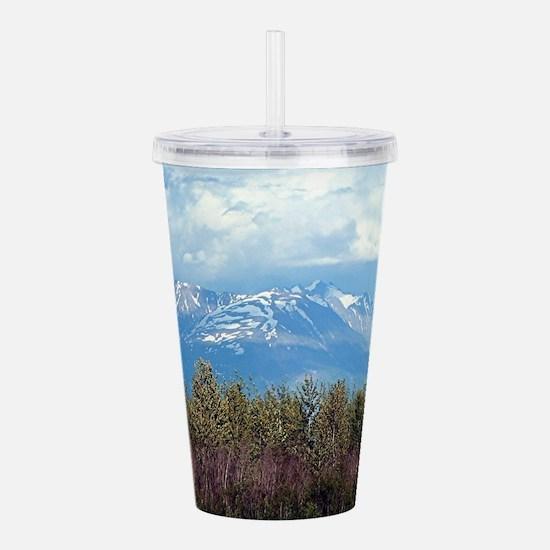Snow covered Alaskan m Acrylic Double-wall Tumbler
