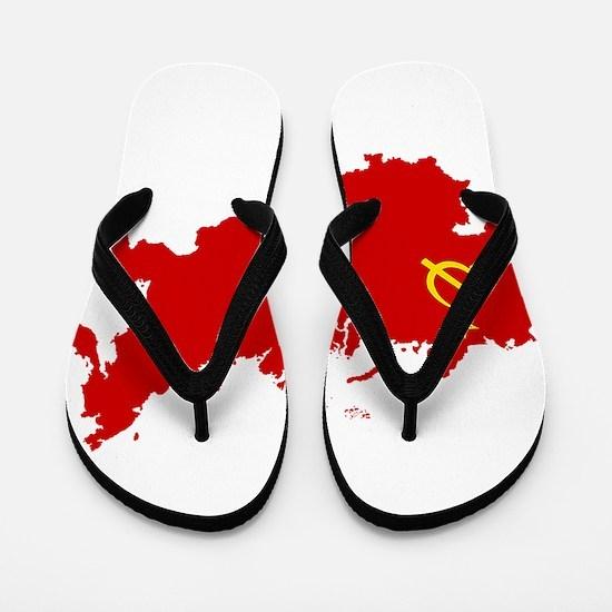 Red USSR Soviet Union map Communist Cou Flip Flops