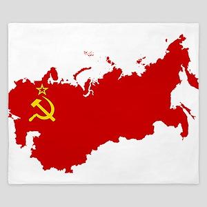 Red USSR Soviet Union map Communist Cou King Duvet