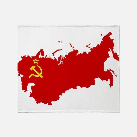 Red USSR Soviet Union map Communist Throw Blanket