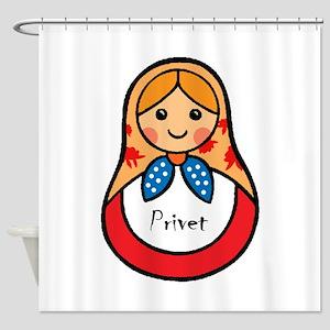 Matryoshka Russian Wooden Doll Shower Curtain