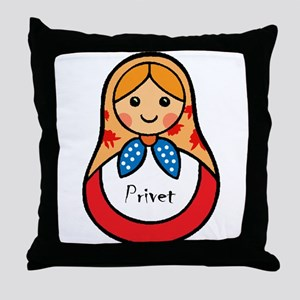 Matryoshka Russian Wooden Doll Throw Pillow