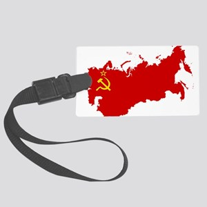 Red USSR Soviet Union map Commun Large Luggage Tag