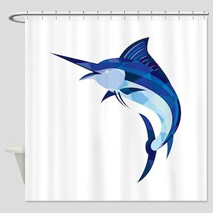Blue Marlin Fish Jumping Low Polygon Shower Curtai