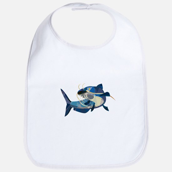 Catfish Mud Cat Looking Up Low Polygon Bib