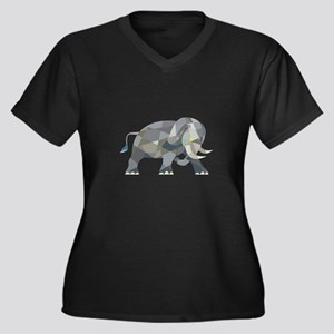 Elephant Attacking Side Low Polygon Plus Size T-Sh