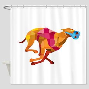 Greyhound Dog Racing Low Polygon Shower Curtain