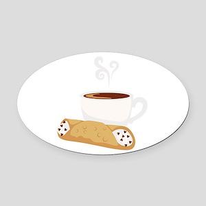 Cannoli & Coffee Oval Car Magnet