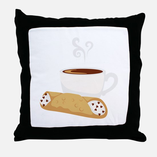 Cannoli & Coffee Throw Pillow