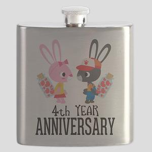 4th Anniversary Couple Bunnies Flask