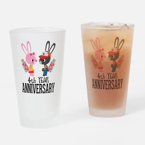 4th Anniversary Couple Bunnies Drinking Glass