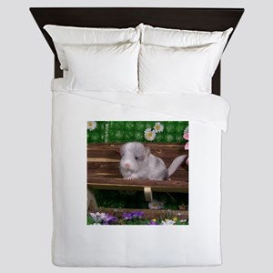 White ebony chinchilla Queen Duvet