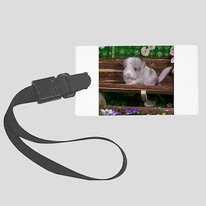 White ebony chinchilla Large Luggage Tag