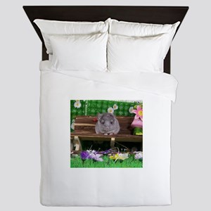 Baby white ebony velvet chinchilla Queen Duvet