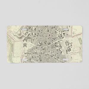 Vintage Map of Madrid Spain Aluminum License Plate