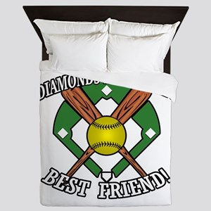 Softball Diamonds Best Friend! Queen Duvet