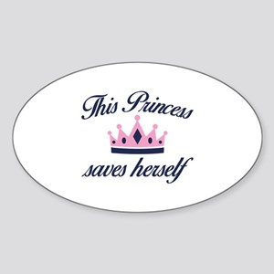 This Princess Saves Herself Sticker (Oval)