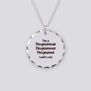 I Write Code Necklace Circle Charm