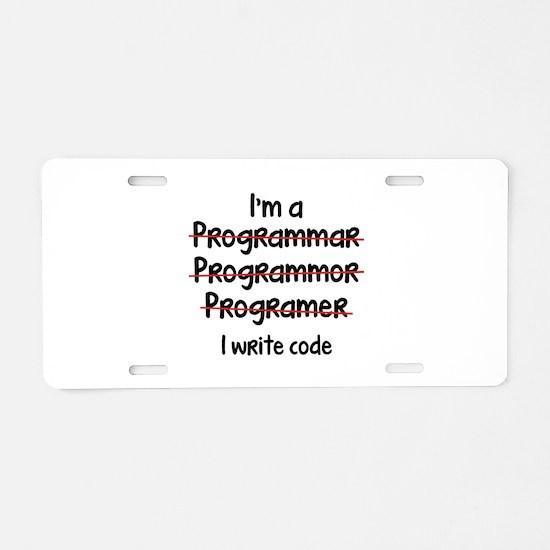 I Write Code Aluminum License Plate