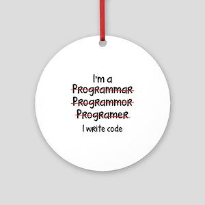 I Write Code Ornament (Round)