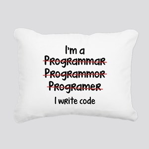 I Write Code Rectangular Canvas Pillow