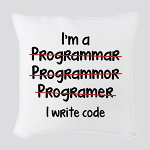 I Write Code Woven Throw Pillow