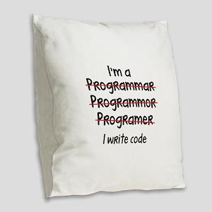 I Write Code Burlap Throw Pillow