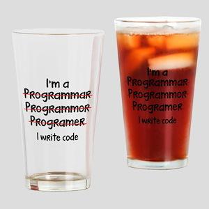 I Write Code Drinking Glass