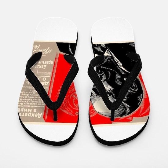 Lenin Marxist Quotes Red Soviet Revolut Flip Flops