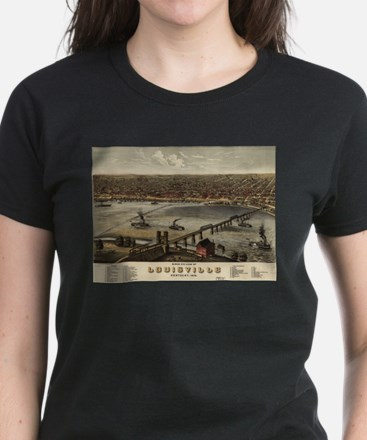 Vintage Pictorial Map of Louisville (1876) T-Shirt
