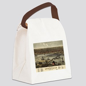 Vintage Pictorial Map of Louisvil Canvas Lunch Bag