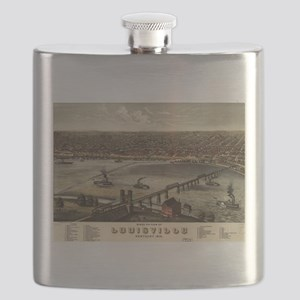 Vintage Pictorial Map of Louisville (1876) Flask