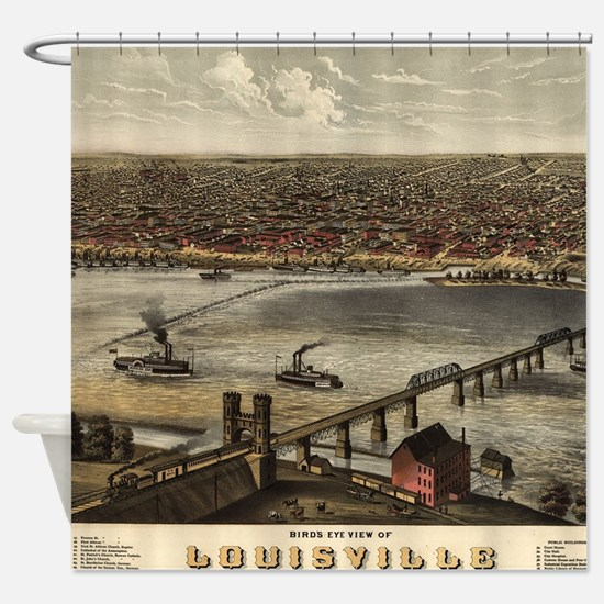 Vintage Pictorial Map of Louisville Shower Curtain