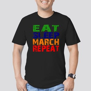 Eat Sleep March Repeat Men's Fitted T-Shirt (dark)