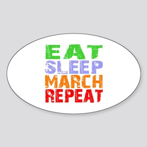 Eat Sleep March Repeat Dark Sticker (Oval)