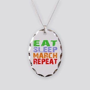 Eat Sleep March Repeat Dark Necklace Oval Charm