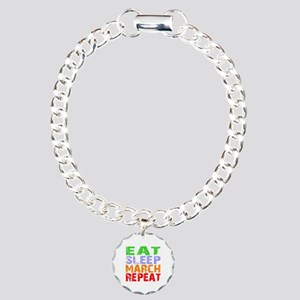 Eat Sleep March Repeat D Charm Bracelet, One Charm