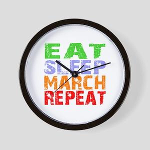 Eat Sleep March Repeat Dark Wall Clock